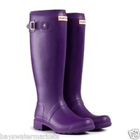 HUNTER ORIGINAL TALL TOUR SOVEREIGN PURPLE WELLINGTON BOOTS Welly PACKABLE FOLD