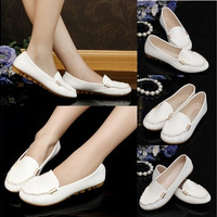 Women Ladies Leather Slip On Moccasins Flats Loafers Shoes Ballet Ballerina Pumps