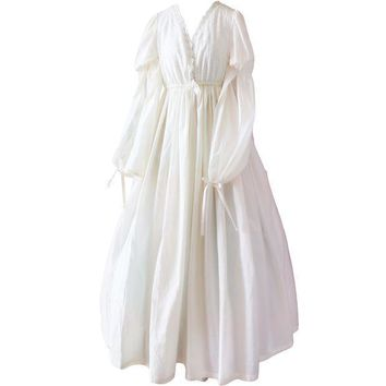 CREYCI7 Vintage Sexy Sleepwear Women Cotton Medieval Nightgown White V-neck Queen Dress Night Dress Lolita Princess Home Dress