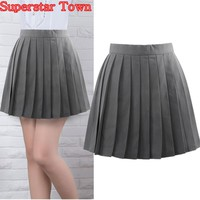 Grey Pleated Skirts Summer Female Pleated Skirt Japan School Uniform Harajuku Women Skirts Saias Faldas
