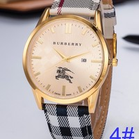 BURBERRY Watch Women's Men Classic Plaid print Watches B-PS-XSDZBSH Gold