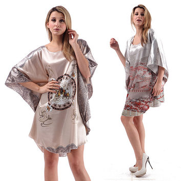 Women Sleepwear Silk Blend Robe Wrap Dress Nightgown Nightwear Bath Robes Dress Japanese Kimono  & Drop shipping
