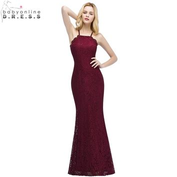 Babyonlinedress 2018 New Burgundy Lace Mermaid Prom Dresses Long Sexy Backless Party Dresses with Criss-Cross Spaghetti Strap