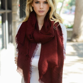 Burgundy Open Grid Scarf with Frayed Edges