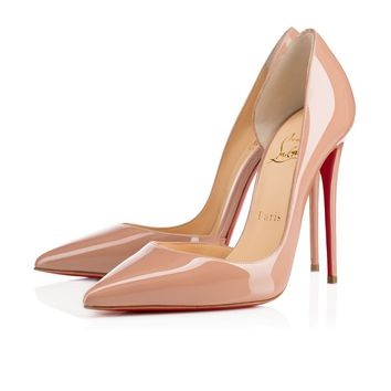 Best Online Sale Christian Louboutin Cl Iriza Nude Patent Leather 120mm Stiletto Heel Classic