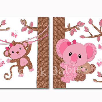 Pink monkey nursery decor koala wall art for baby girl room poster toddler artwork newborn gift baby shower decoration brown print set