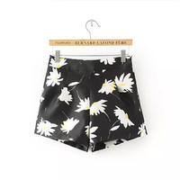Summer Women's Fashion High Rise Print Pants Slim Shorts [6048010241]