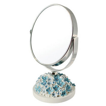 Continental Make-up Mirror 5-Inch Tabletop Two-Sided Cosmetic Mirror White/Blue