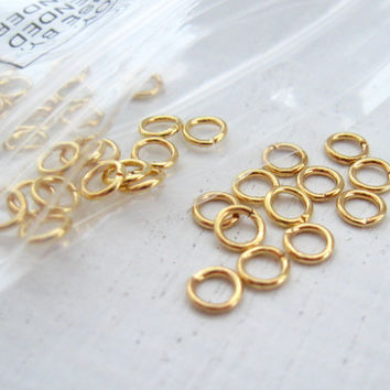 Gold Jump Rings 4mm 100 Gold Plated Brass by CRAZYCOOLSTUFF