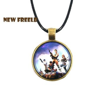 Hot FPS Game Fortnite Battle Royale Necklace Time Gem Pendant Vintage&Personalized Jewelry for Women and Men fans 5 Styles