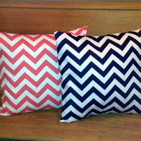 Coral and navy chevron pillow covers (set of 2)