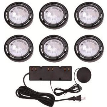 Hampton Bay   6-Light Xenon Black Under Cabinet Puck Light Kit
