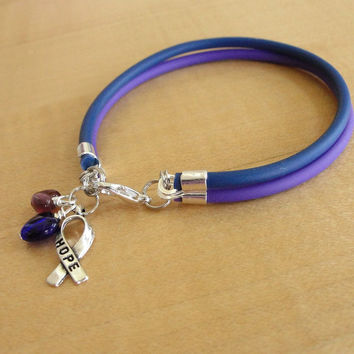 Purple and Blue Awareness Bracelet - Rubber