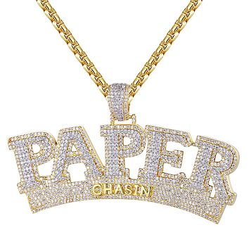 New Iced Out Paper Chasin Money Custom Pendant Necklace