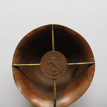 Vintage Brass and Copper Mexican Coin Ashtray 1950s