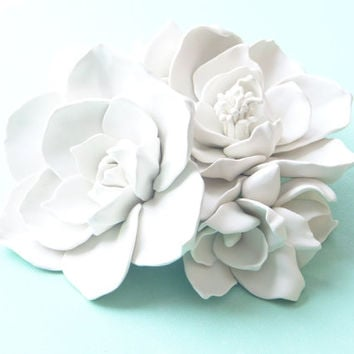 Magnolia Bouquet Wall Sculpture - White Magnolia Flowers