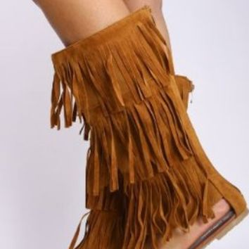 New Womens Mid Calf Fringe Moccasin Dress Sandals Sexy Boot Style in Black Tan, Brown, Red