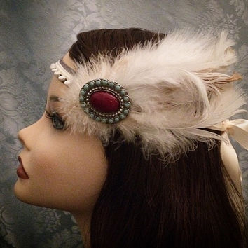 White Painted Metal Beaded Style Flapper Headband Art Deco Gatsby Ostrich Feather Wrap Head Piece 1920s  Jazz Era 20s accessory 1920