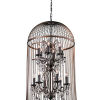 Bird Cage Collection Chandelier by Bois et Cuir by CDI Intl at Gilt