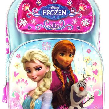 "Disney Frozen Anna & Elsa with Olaf Girls 16"" Canvas Pink & Blue School Backpack"