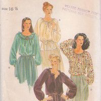 1980s vintage pattern for long sleeved,  peasant style blouse with neckline ruffles misses size 16 1/2 Vogue 7197 UNCUT