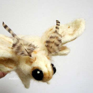 Moth sculpture, needle felted bug, Soft sculpture, venezuelan poodle moth MADE to ORDER