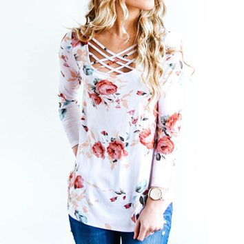 Printed Floral Lace up V-Neck T-Shirt Women Tops Autumn Winter 2017 T Shirt Female Top Tees Casual Long Sleeve White Blue tshirt