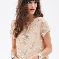 FOREVER 21 Floral-Beaded Blouse