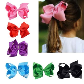 3pcs Hot Sale Grosgrain Ribbon Large Hair Bows Solid Ribbon Bows With Alligator Clips Boutique Girls Hairpin Accessories