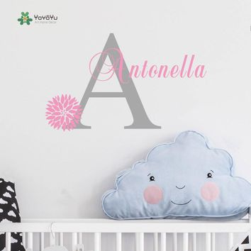 Personalized Flowers Name Wall Decal  Girls Kids Room Decor -Nursery Wall Decals vinyl  sticker for Girls Room KW-114