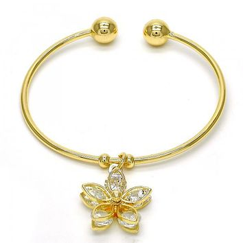 Gold Layered 07.63.0196 Individual Bangle, Flower Design, with White Cubic Zirconia, Polished Finish, Golden Tone (02 MM Thickness, One size fits all)