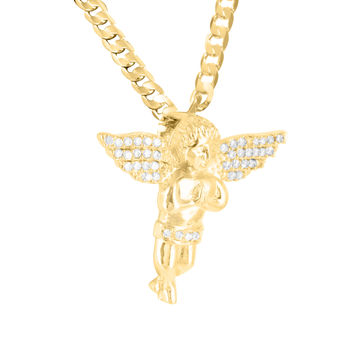 Mens Lab Diamond Praying Angel Yellow Gold Finish Pendant Chain