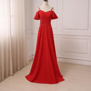 Mermaid Red Long Evening Dress Party Elegant Long Prom Gowns