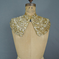 Vintage Gold Sequin Wide Collar, 14 inch neck, 8 inches wide, 1940s Dress Collar