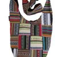 Bohemian Patched Woven Cotton Long Shoulder Bag