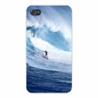 Apple Iphone Custom Case 4 4s White Plastic Snap on - Surfer Riding Large Wave in Ocean Water