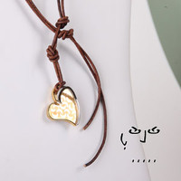 Stainless Steel Heart with Engraved Moon Pendant Lasso Necklace