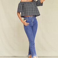 Urban Renewal Remade Plaid Off-The-Shoulder Top | Urban Outfitters