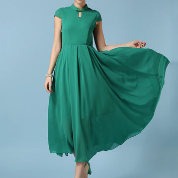 Green Mandarin Collar Chiffon Short Sleeve A-line Pleated Maxi Dress