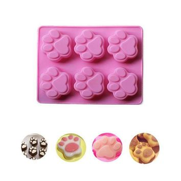 DCCKU7Q Cat Paw Print Silicone Cookie Cake Candy Chocolate Mold Soap Ice Cube Mold