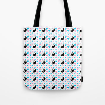 Tao, hearts and stars-sky,hope,spangled,love,romantic,tao,taoism,yin,yang,romantism,pointed Tote Bag by oldking