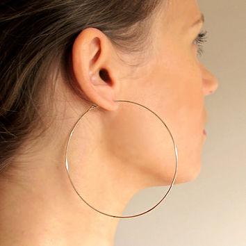 Rose Gold Filled Hoop Earrings / Large 3 inch Hoops / Lightweight  Round Earrings / Fashion Jewelry / XXL Earrings / Big Hoops / Giant Hoops