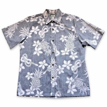 Ukulele Fun Navy Hawaiian Reverse Shirt