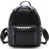 Retro Leisure Leather Punk Rivet College Women's Backpack