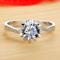 18KGP 1 Carat NSCD Diamond Celebrity Style Engraved Ring for her