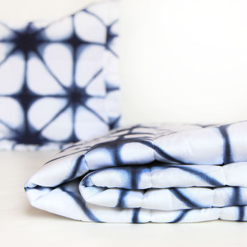 Indigo Tie Dye Quilted Coverlet and Sham Set