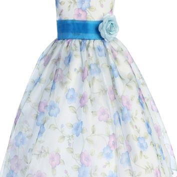 Blue Vintage Floral Print Organza Overlay Girls Dress 2T-12
