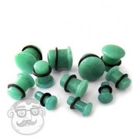 "Single Flare Green Aventurine Stone Plugs | (8 Gauge - 5/8"") 