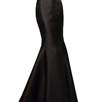 Satin Mermaid Long Skirt Evening Party Prom Skirt Beads Women Dress Black