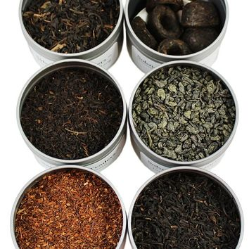 Loose Leaf Tea Sampler Gunpowder Green Tea, Lychee Congou Loose Tea, Rooibos Herbal Tea, and More; 6 Varieties